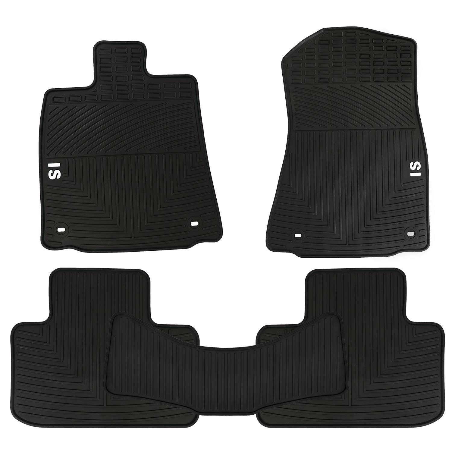 San Auto Car Floor Mats Compatible with Lexus IS 200T 300H 2013 2014 2015 2016 2017 2018 2019 Custom Fit for Black White Rubber Car Floor Liners Set All Weather