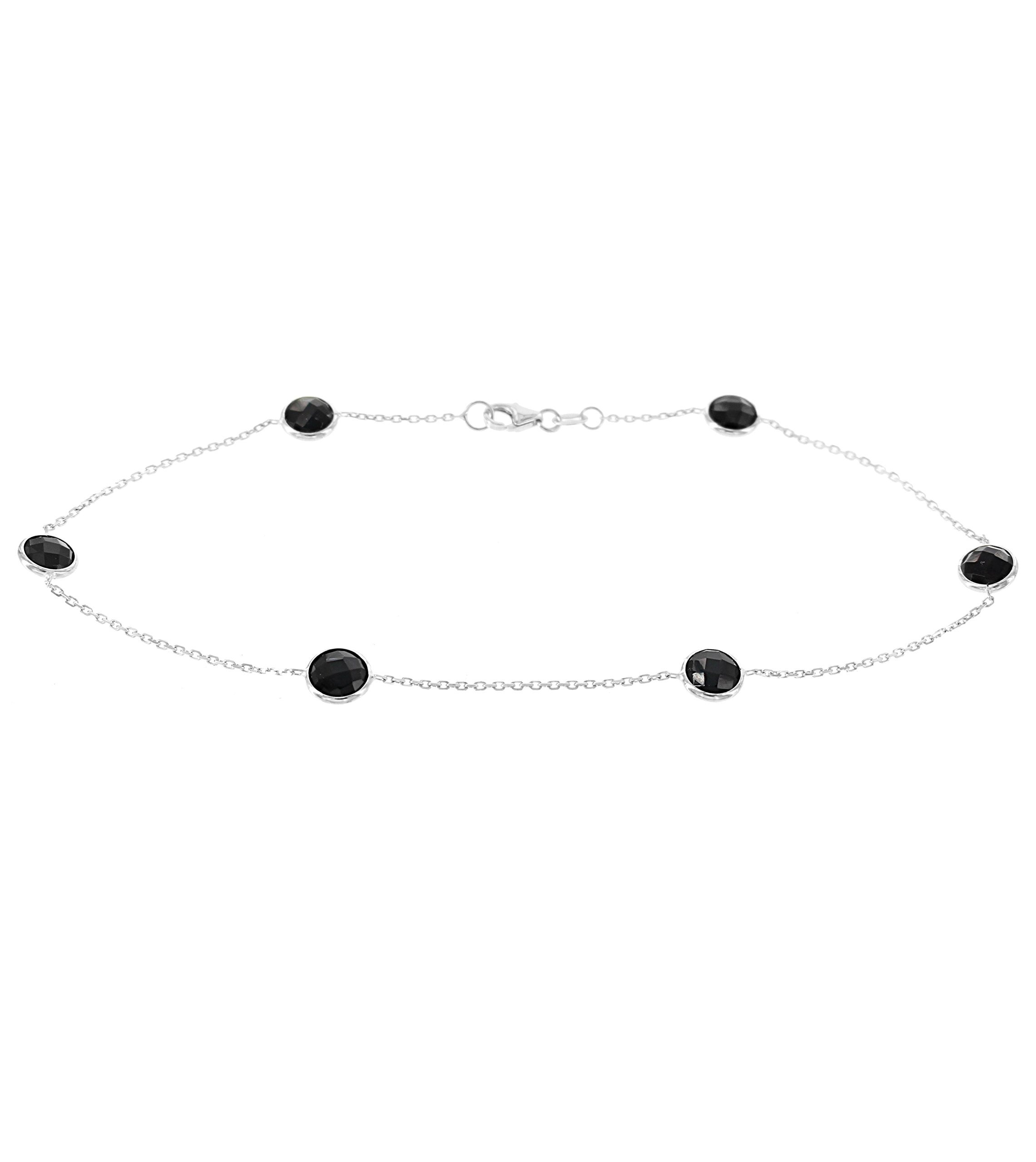 14k White Gold Ankle Bracelet With Black Onyx Gemstone Stations (9 - 11 inches)