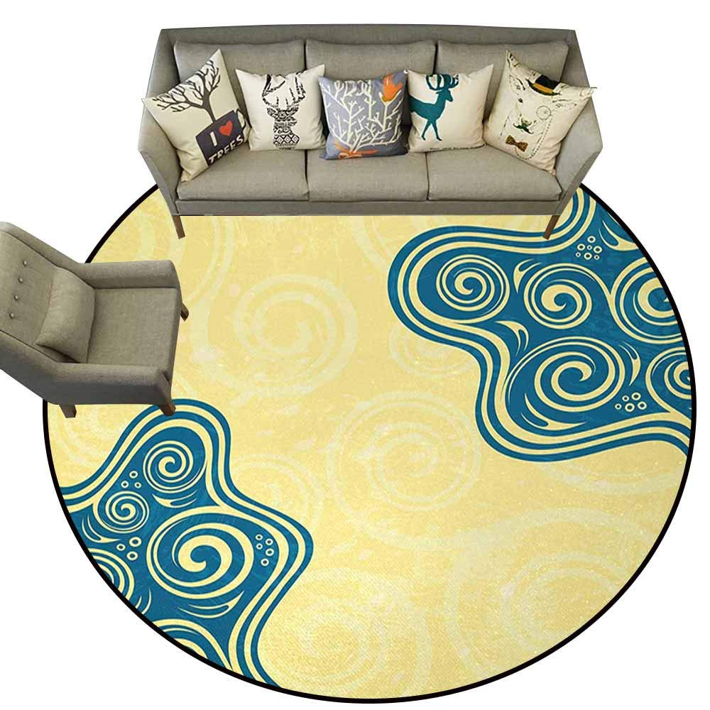 color02 4.6 feet Anti Slip Round Doormat Indoor,Adventure,Man Flying with colorful Balloons in The Sky on Clouds Miracle Paint Print,Coral and bluee,Floor Rug shoes Scraper Door Mat Rug5.2 feet