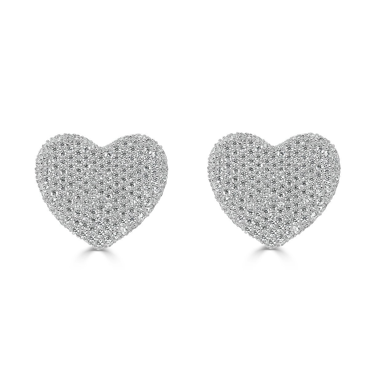 Gold Plated Sterling Silver Cubic Zirconia Pave Hearts Stud Earrings