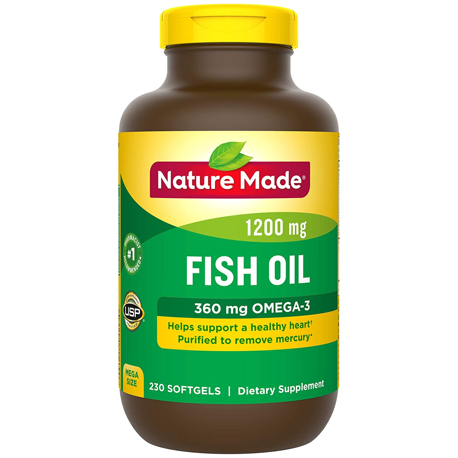 Nature Made Fish Oil 1200 mg Softgels, 230 Count Mega Size for Heart Health† (Packaging May Vary)