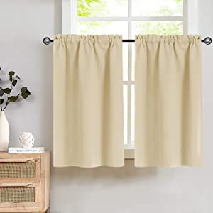 Window Room Darkening Thermal Insulated Tier Curtains - Functional Window Treatment Drapes Tier Curtain and Valance for Kitchen Home Decor Beige 2 Panels 34W by 36L Inches