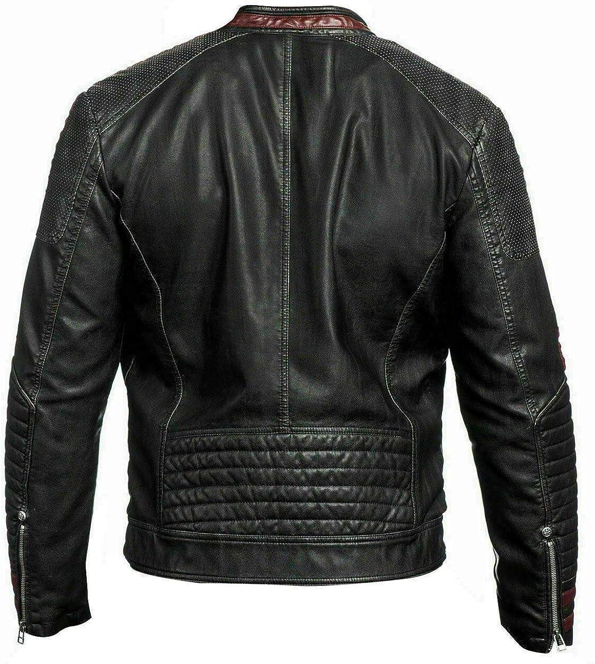 Mens Street Fighter N7 Moto Cafe Racer Black Biker Leather Jacket