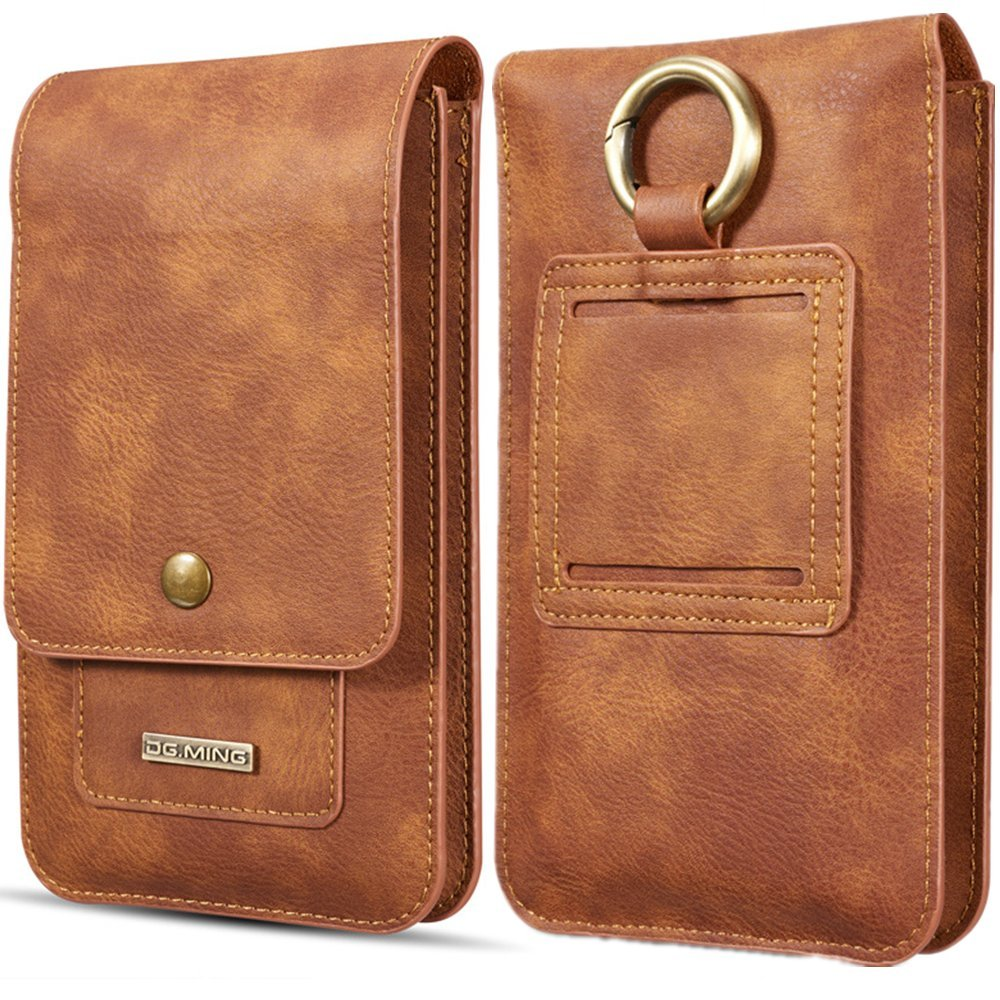 TechCode iPhone 8 Plus Case, iPhone 5.5 inch Case, PU Leather Holster with Swivel Belt Clip Cards Slot Fit for All 5.5 Inch Samsung Galaxy and iPhone and Android Phone (Light Brown)