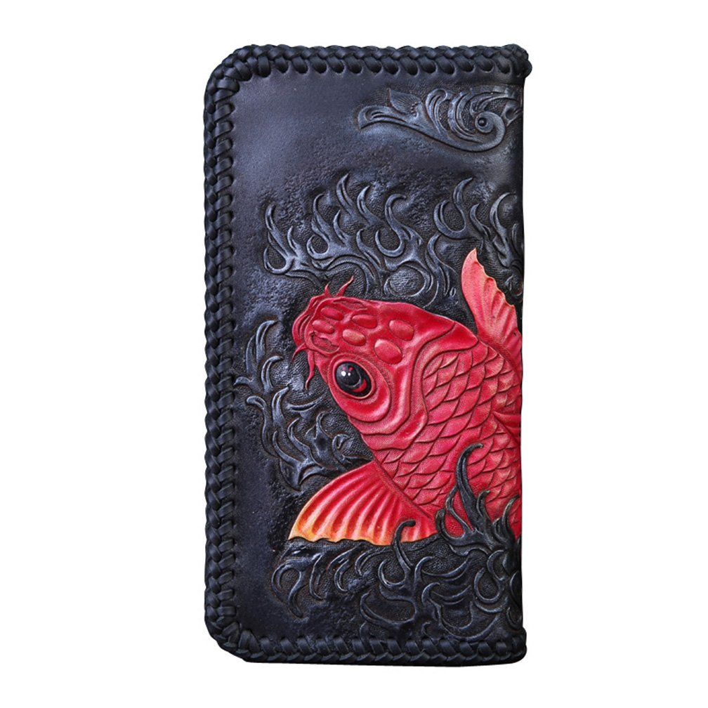[龍紋鬼] 和柄財布 完全オリジナル手作り 牛革 レーザーウオレット 長財布 B01N31XCYU 鯉- ファスナー 鯉- ファスナー