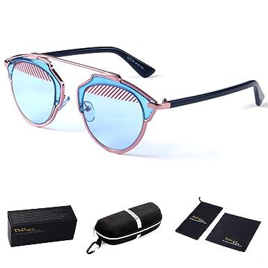 b41ec08c31 Amazon.com  Dollger Vintage Cat Eye Sunglasses High Pointed Oversized Cateye  Flat Glasses(Blue Frame+Half Red Rain Half Blue Lens)  Clothing