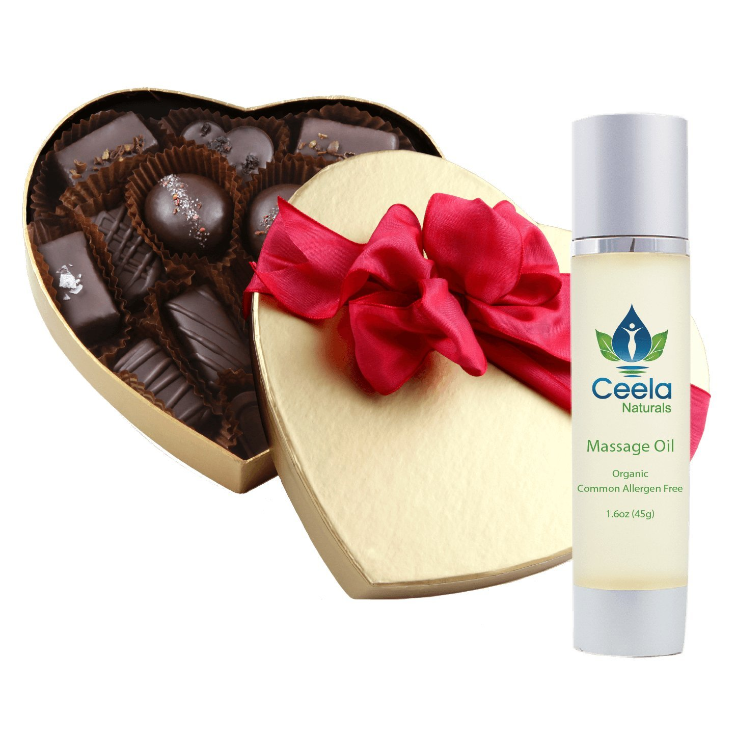 Chocolate & Touch Special - Amore di Mona 16 Piece Amore Assortment Valentine's Heart and Ceela Naturals Organic Massage Oil - Vegan, Organic, Gluten-Free, Dairy Free, Nut Free, GMO-Free, Soy Free