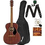 Fender CC-60S Solid Top Concert Size Acoustic Guitar - Mahogany Bundle with Gig Bag, Tuner, Strap, Strings, Picks, Fender Pla