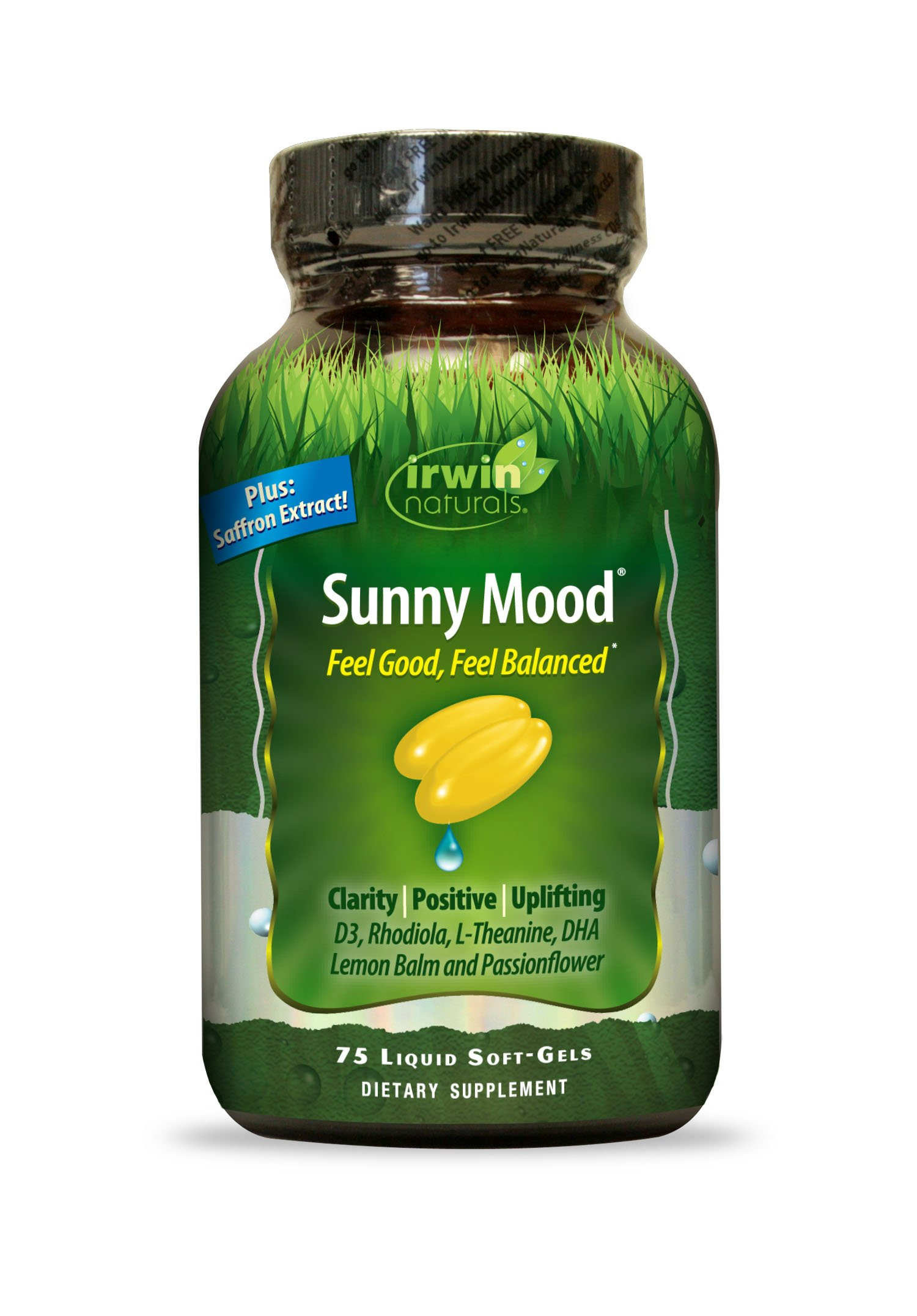 Sunny Mood by Irwin Naturals, Mood and Stress Support, 75 Liquid Soft-Gels