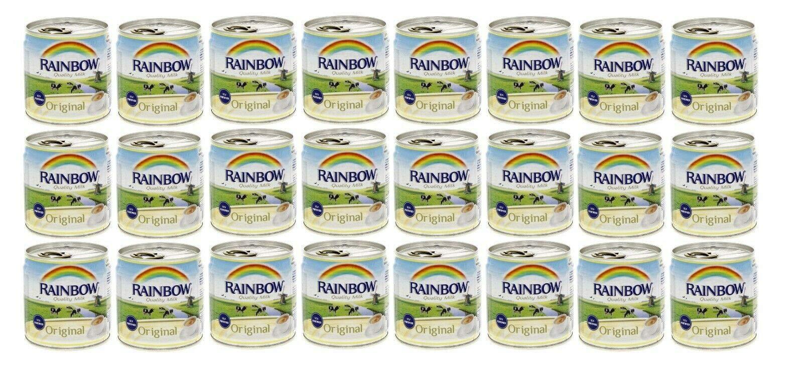 Rainbow Evaporated Milk Full Cream Sterilized 6oz. 170gm each 24 Cans حليب أبو قوس مبخر كامل الدسم افضل صديق للشاي by Al Amin