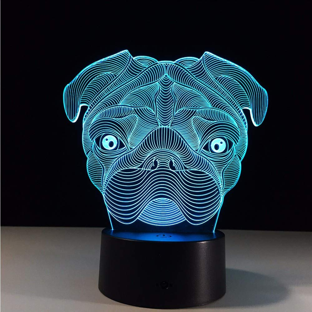 b16ee3f909 ... Ytdzsw Lindo Perro Pug Pug Pug Led Luz De La Noche 3D Bebé Dormir  Animal Luces ...
