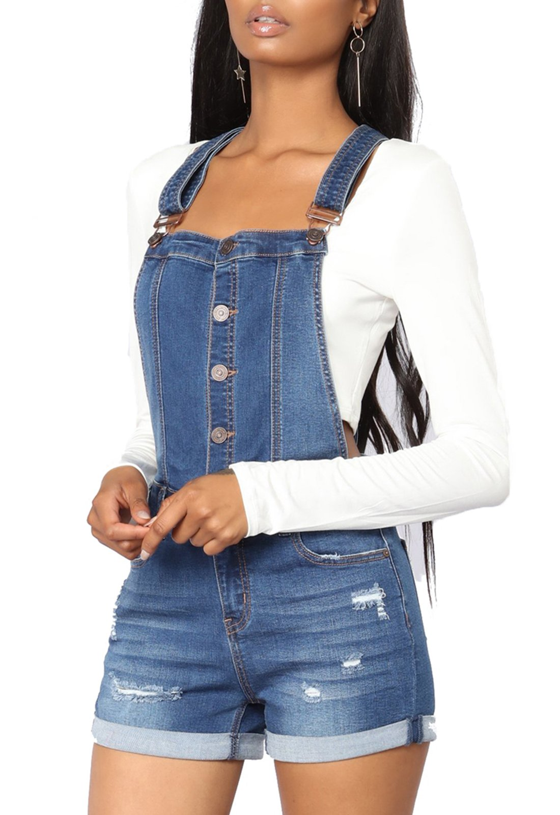 eae695a668f GOSOPIN Women Adjustable Juniors Overall Shorts Distressed Denim Rompers  Large Blue