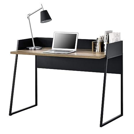 [en.casa]®] Mesa Escritorio con 3 Compartimientos 120 x 60 x 90 cm Mesa Despacho para Computadora Negro y Apariencia de Madera