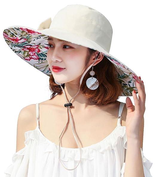 b471efcbfcc Bienvenu Women Ladies Packable Reversible Summer Wide Brim Bucket Hat Sun  Protection Travel Outdoor Beach Cap