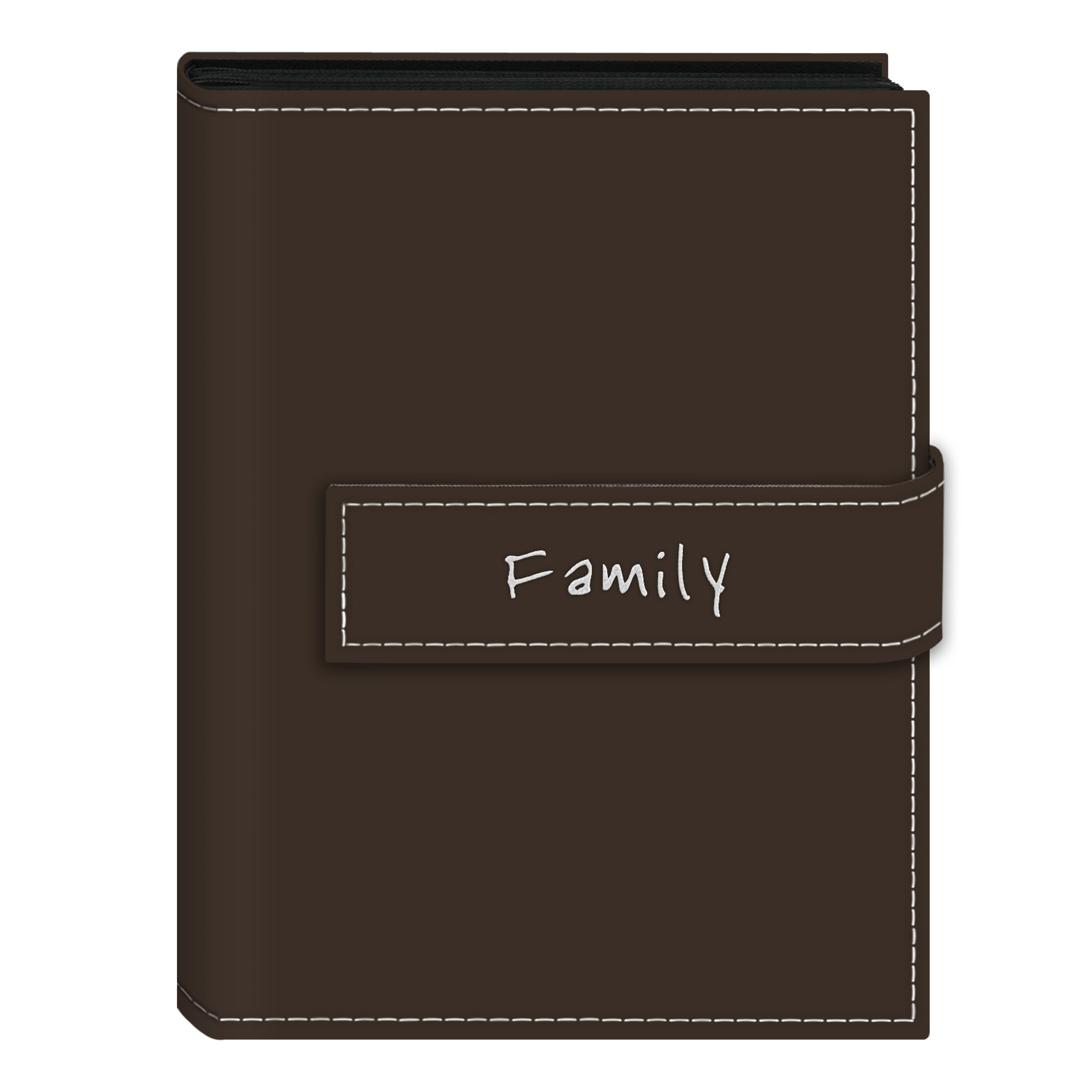 Pioneer Photo Albums 36-Pocket 5 by 7-Inch Embroidered ''Family'' Strap Sewn Leatherette Cover Photo Album, Mini, Brown