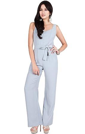 303d721db9a Viris Zamara Womens Long Sleeveless V-Neck Slimming Pockets Belt Dressy  Jumpsuit - Gray - Large  Amazon.co.uk  Clothing