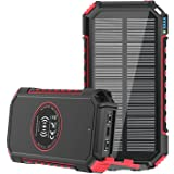 Solar Charger 26800mAh, ADDTOP Wireless Portable Charger with Dual Flashlights & 4 Outputs, USB C Quick Charge Qi Power Bank
