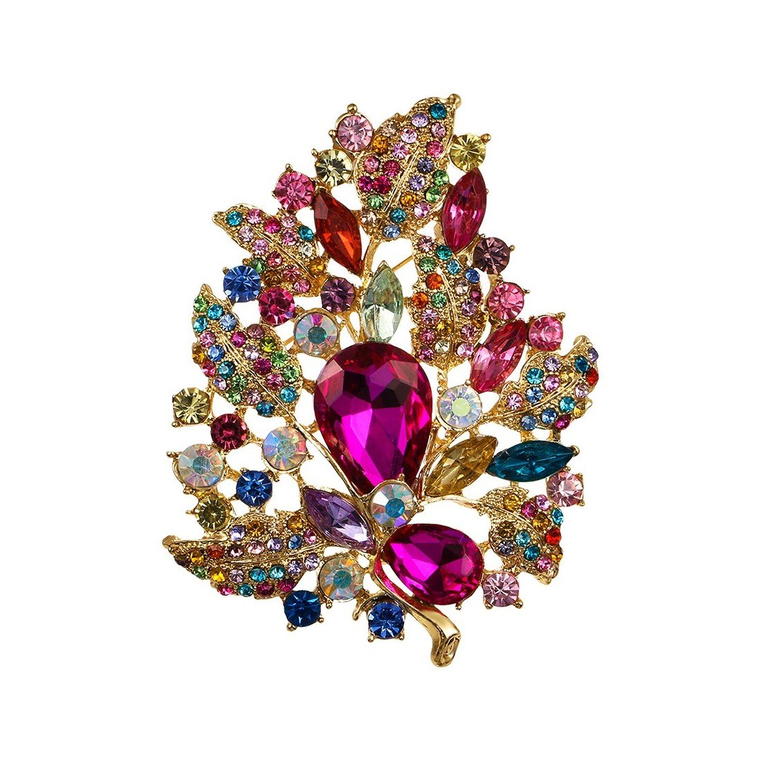 WeimanJewelry Gold Plated Large Rhinestone Glass Crystal Wedding Flower Leaf Bouquet Brooch Pin for Women(Multicolor)