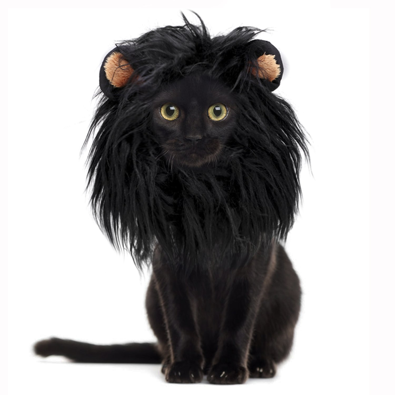 Onmygogo Lion Mane Wig for Cats with Ears, Funny Pet Cat Costumes for Halloween Christmas (S, Melange Brown) Shop onmygogo