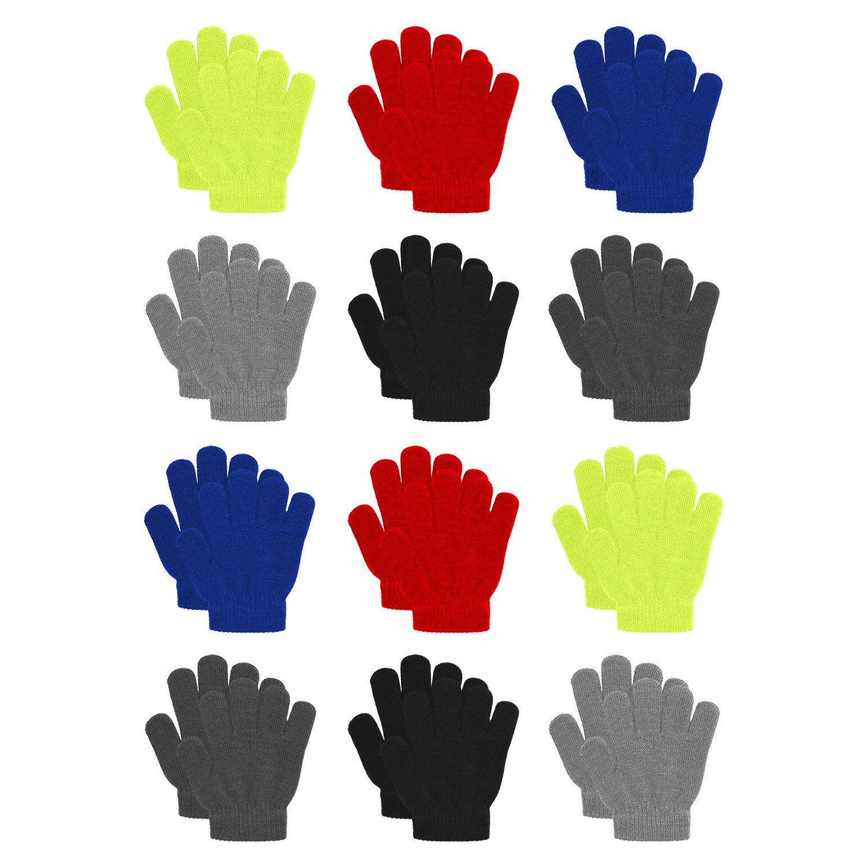 12 Pairs Kid's Winter Magic Gloves Children Knit Warm Gloves Ice Stake Gloves Black) CL001-BK