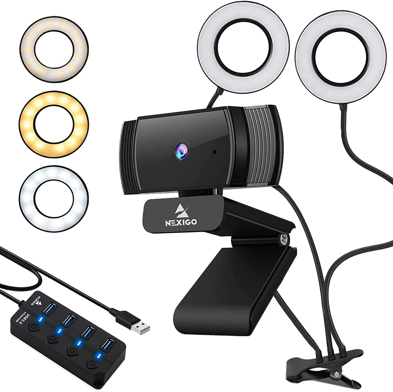 1080P AutoFocus Webcam with 2ft USB Hub Switch, Microphone, 3.5 Inch Dual Selfie Ring Light, Mount Stand, and Privacy Cover, for Streaming Online Class, Zoom Skype MS Teams, PC Mac Laptop Desktop