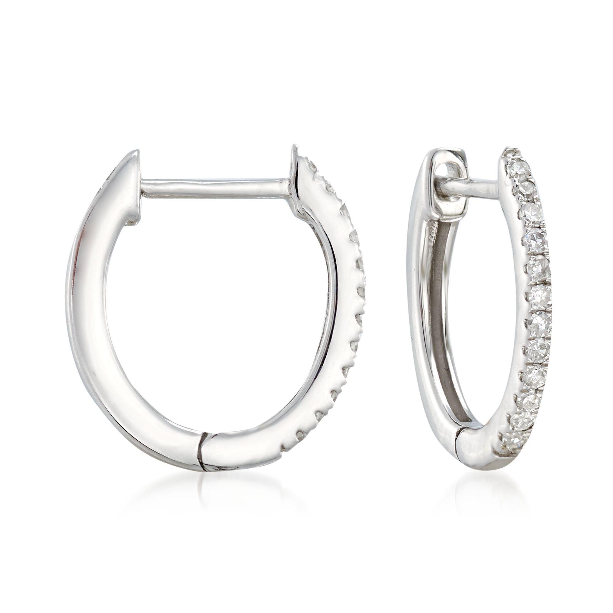 Ross-Simons 0.10 ct. t.w. Diamond Huggie Hoop Earrings in 14kt White Gold