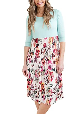 0e6fdb0cdfac Amazon.com: HOTAPEI Womens Casual 3 4 Sleeve Floral Round Neck Casual  Flared Midi Dresses Green XL: Clothing