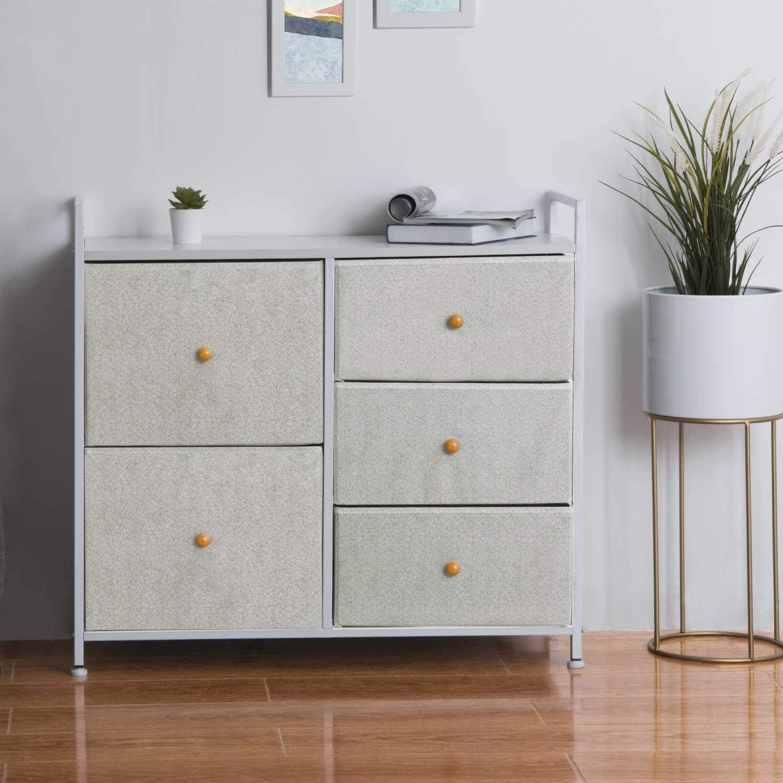 EPHEX Kommode Aufbewahrung, Schrank Organizer mit 16 Schubladen für  Schlafzimmer, Wohnzimmer und Flur, Schubladenschrank aus Metall, MDF und  Stoff,