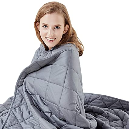 HYPNOSER Weighted Blanket- 2 0 Weighted Blanket- Stress Relief Blanket for  Insomnia, ADHD and PTSD- for 100-150lb Person- Sleep Aid and Stress Relief