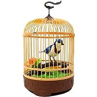 SAISAN Singing Moving Chirping Beautiful Electronic Bird Pet Toy In Cage (Multicolour)
