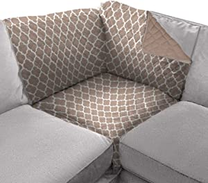 Sofa Shield Original Patent Pending Reversible Sofa Corner Sectional Protector, Many Colors, 30x30 Inch, Washable Furniture Protector, 2 Inch Strap, Sectional Slip Cover for Pet Dogs, Quatrefoil Mocha