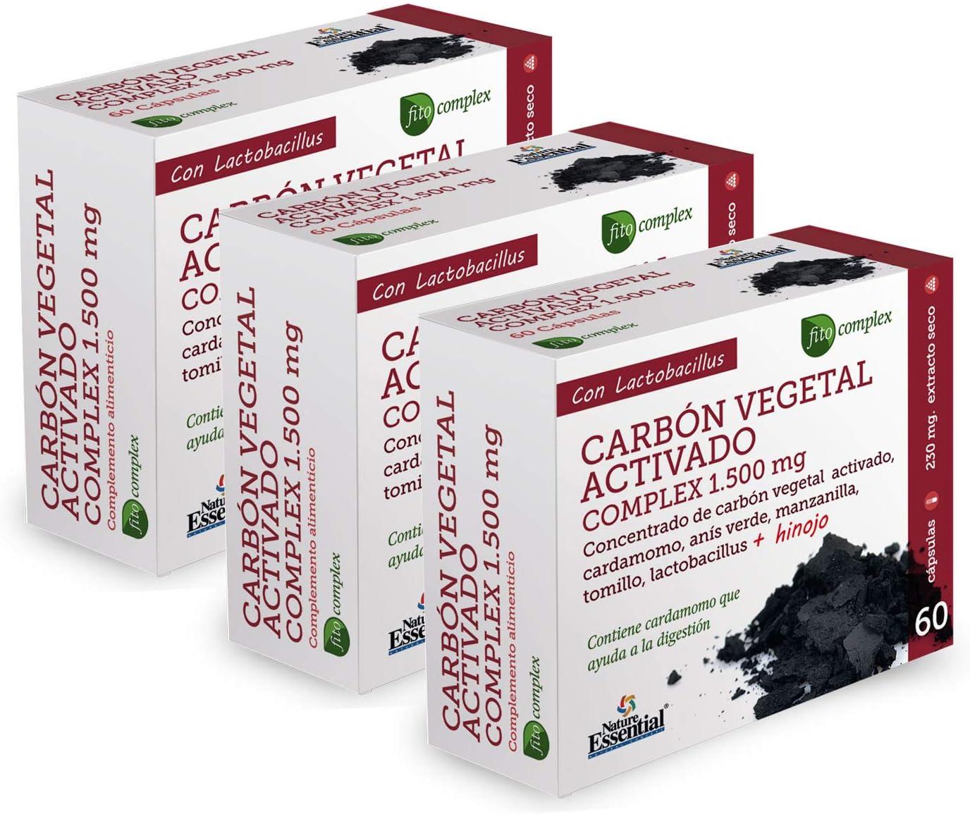 Carbón vegetal activado (complex) 1500 mg. (ext. seco) 60 cápsulas (Pack 3 unid.)