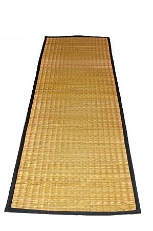 MONTISA Handmade Organic Eco-Friendly Portable River Grass Mat/Natural Fibre mat/Korai Grass Mat/Reed Mat/Madurkathi Mat, Multipurpose Floor Mat/Meditation / Picnic/Yoga / (T2-03)- (24W x 65L)