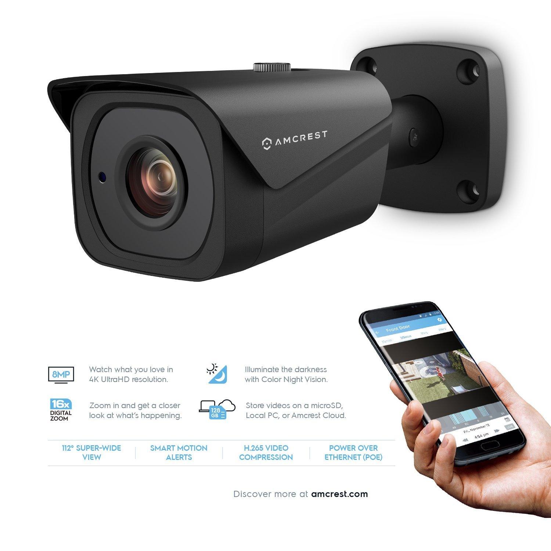 2-Pack Amcrest UltraHD 4K 8MP Bullet POE IP Camera, 3840×2160, 131ft NightVision, 2.8mm Lens, IP67 Weatherproof, MicroSD Recording, Black 2PACK-IP8M-2496EB 2018 Firmware