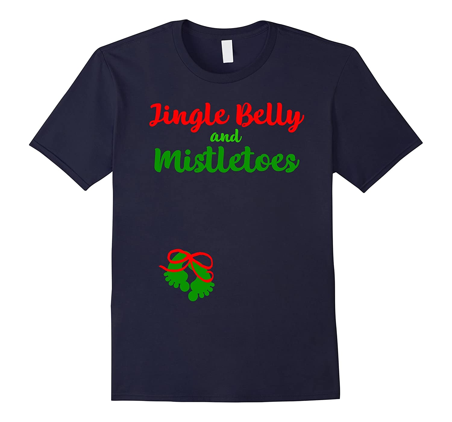 Cute Christmas Shirt Belly Mistletoes Pregnancy Announcement-FL