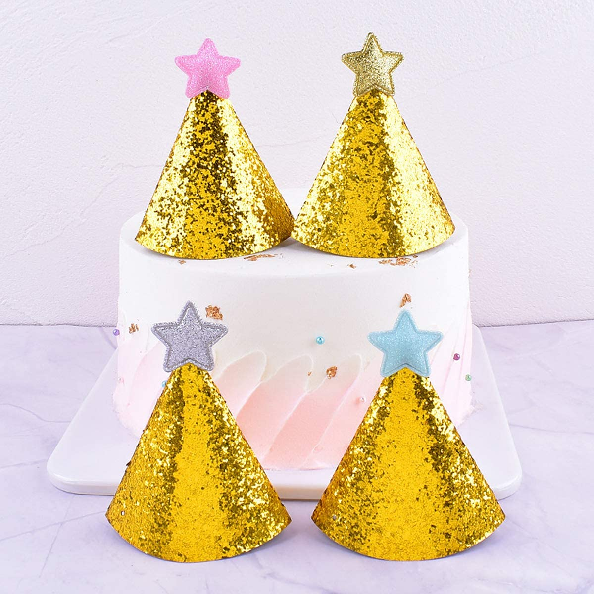 Liwein Party Cone Hats 8 pcs Glitter Cloth Birthday Cone Hats Golden Star Decorations Cake Cone Hats for Dog Boys Girls Kids Birthday Party Supplies