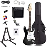 Display4top Full-Size Electric Guitar Most complete Beginner Super Kit Package with 20 Watt Amplifier, Guitar Stand, Bag, Guitar Pick, Strap,spare Strings, Tuner, Case and Cable (Blackwhite)