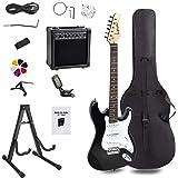 Display4top Kit de guitarra eléctrica Amplificador de 20 vatios, soporte de guitarra, bolsa, púa de guitarra, correa, cuerdas de repuesto, sintonizador, estuche y cable (Blanco negro)