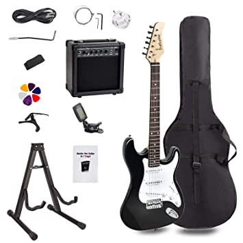 Display4top Kit de guitarra eléctrica Amplificador de 20 vatios, soporte de guitarra, bolsa,