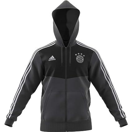 b3e72396d42cf Amazon.com : adidas 2018-2019 Bayern Munich 3S Hooded Zip (Carbon ...