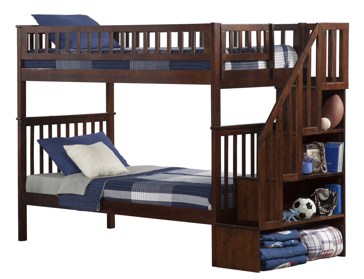 amazoncom woodland staircase bunk bed antique walnut twin over twin kitchen u0026 dining