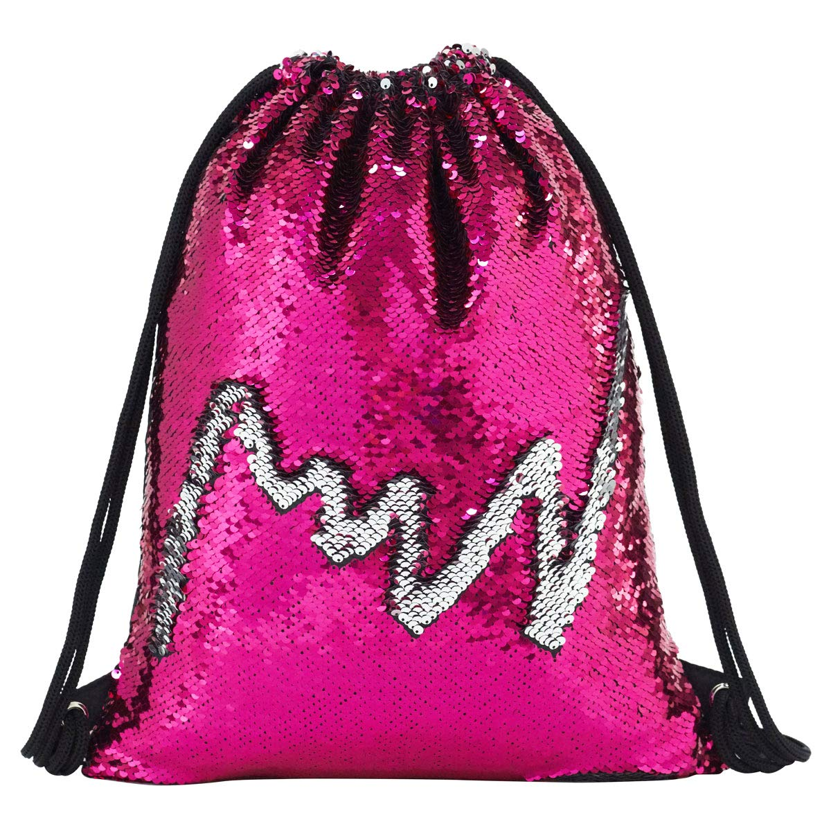 Mermaid Drawstring Bag Magic Reversible Sequin Backpack Glittering Dance School Bag for Yoga Outdoors Sports,Mothers' Day Gift for Girls Women Kids(Rose/silvery) by Segorts (Image #2)