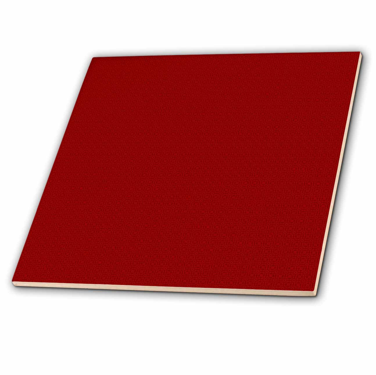 3dRose ct_180515_1 Dark Red and Light Red Square Patterns Ceramic Tile, 4''
