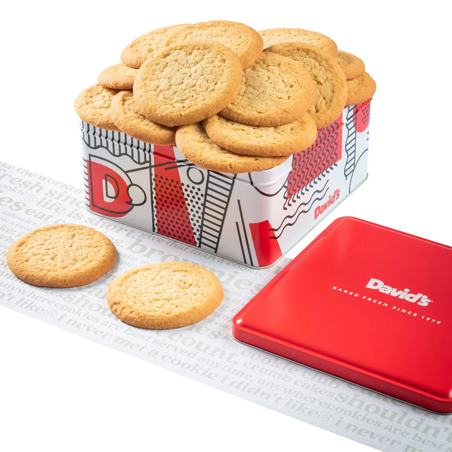 David's Cookies - 24 Fresh Baked Sugar Cookie Gourmet Gift Basket - Christmas, Holiday & Corporate Food Tin - Idea For Men & Women - 2 lb.