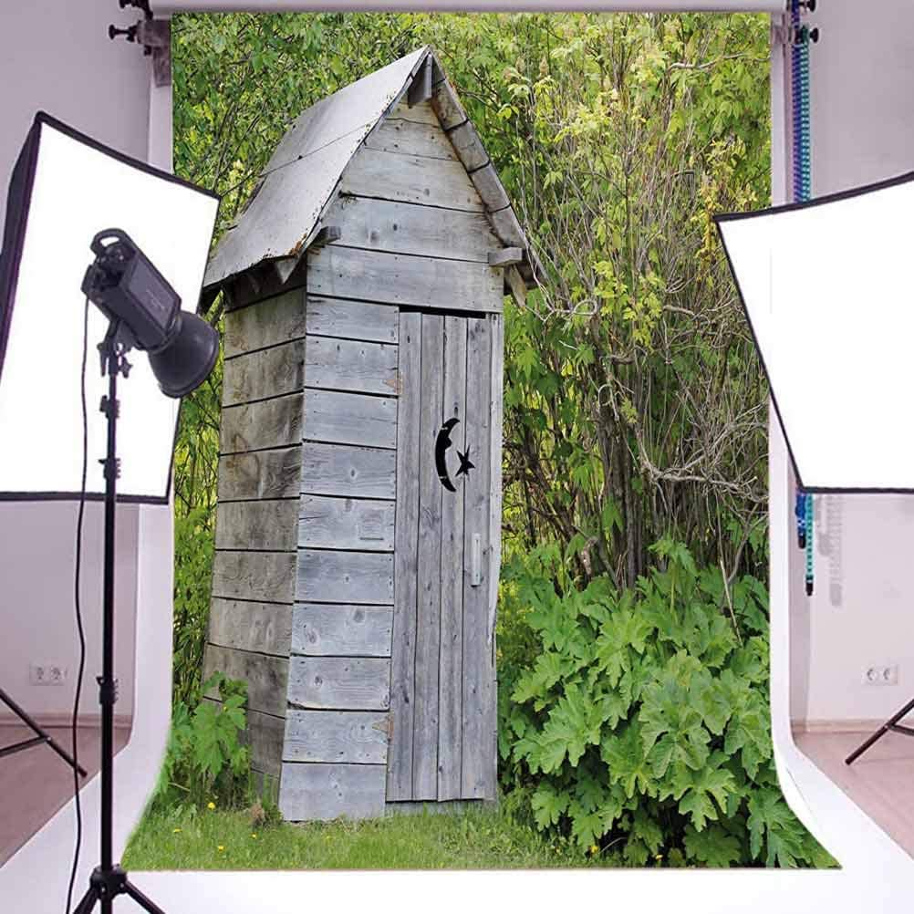 Vintage Farm Life Cottage Barn Shed in Forest Trees Leaves Picture Background for Baby Shower Bridal Wedding Studio Photography Pictures Outhouse 6.5x10 FT Photography Backdrop
