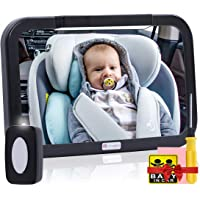 Baby Car Mirror with Light, Innokids Dual Mode LED Lighting by Remote Control, Clear View of Infant in Rear Facing Back…