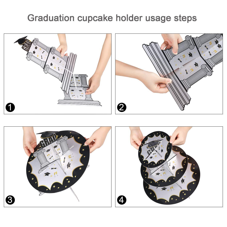 Howaf Support /à Cupcake r/éutilisable en Carton 3-Tier Pr/ésentoir /à Cupcakes Muffins pour Les d/écorations de Remise de dipl/ôme f/ête de Fin d /étude