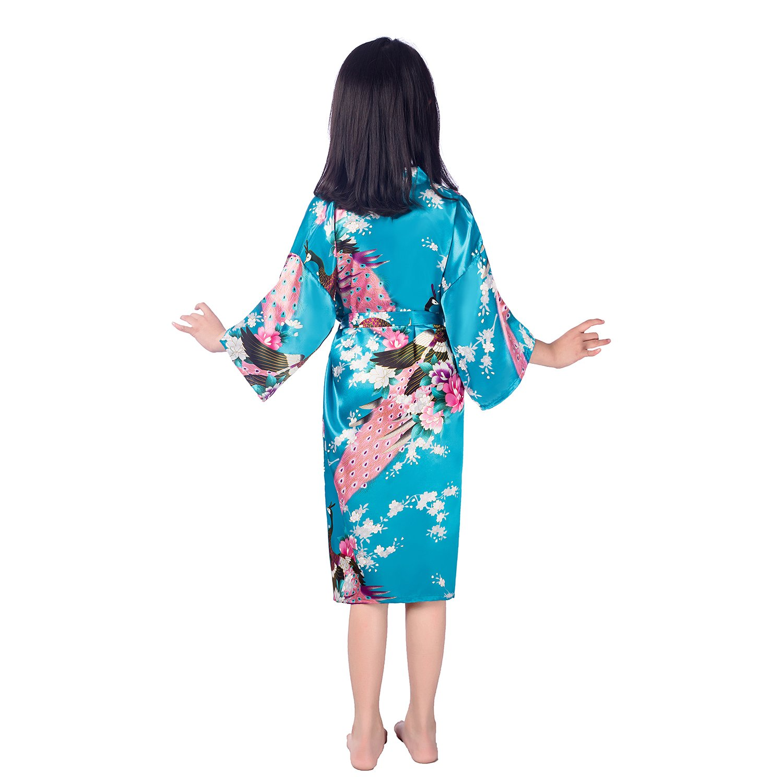 Girls Satin Kimono Silk Robe Bathrobe Peacock Floral Short Nightgown Sleepwear for Spa Wedding Birthday