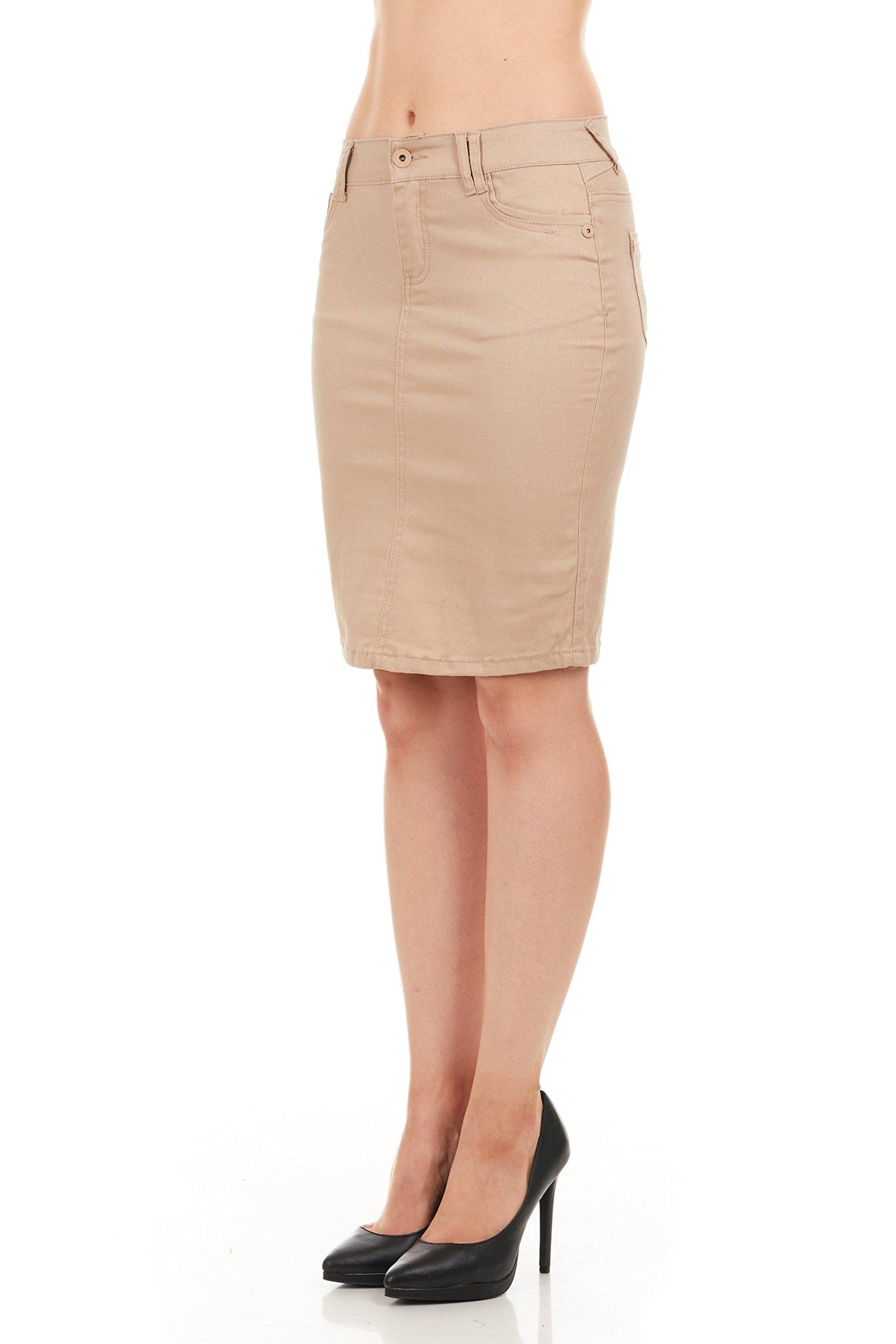 FGR Girl's Stertchy Cotton 5 Pocket Color Denim Skirt Khaki Size 12 by FGR (Image #4)