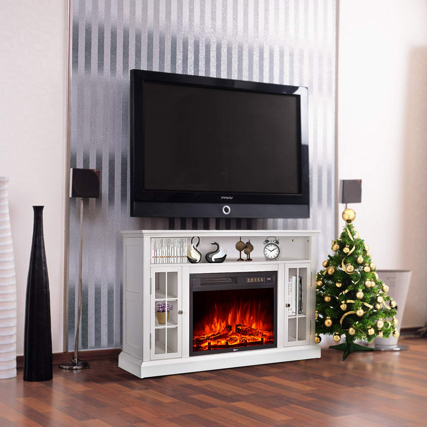 GMHome 46 Inches TV Stand Electric Fireplace Insert Media Console with Bookcase with Remote Control Electric Fireplace - Ivory Finish